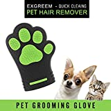 Pet grooming glove - Exgreem Newest pet hair remover glove Cat & Dog Brush (360 Silicone) Easy Wash Dog Bathing Glove - For Short / Medium Fur - Pet hair shedding massaging glove (Black/Green)