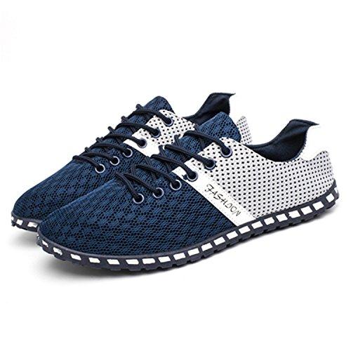 Botia Mocassins pour Hommes Été Léger Respirant Air Engrener Décontractées Chaussures Bleu SI0vxg