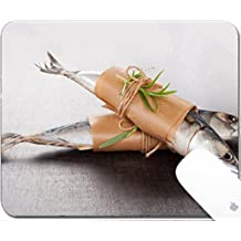 Luxlady Gaming Mousepad 9.25in X 7.25in IMAGE: 34384009 Delicious fresh mackerel fish on stone background