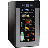 NutriChef PKTEWCDS1802 18 Bottle Dual Zone Thermoelectric Wine Cooler - Red and White Wine Chiller - Countertop Wine Cellar - Freestanding Refrigerator with LCD Display Digital Touch Controls