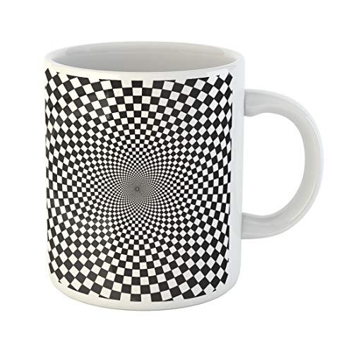 Semtomn Funny Coffee Mug Pattern Optical Infinity Tunnel Black White Chess Kaleidoscope Vortex 11 Oz Ceramic Coffee Mugs Tea Cup Best Gift Or Souvenir