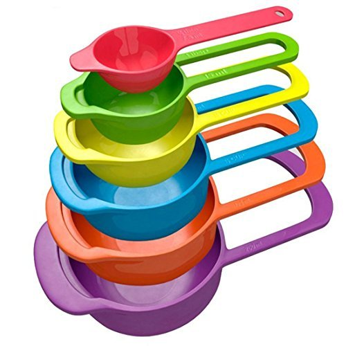 Nested Measuring Spoons and Cups - Versatile Measuring Set, Set of 6 for Measuring Dry and Liquid Ingredients (Multi-color, 3.5 Oz / 100 G)