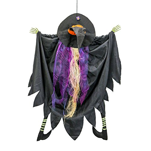 Halloween Haunters Hanging 4 Foot Tree Window Crasher Witch Prop Decoration - Spooky Eye-Catching Flying Crashing Witch, Attach to Tree, Door, Porch - Haunted House Graveyard Entryway -