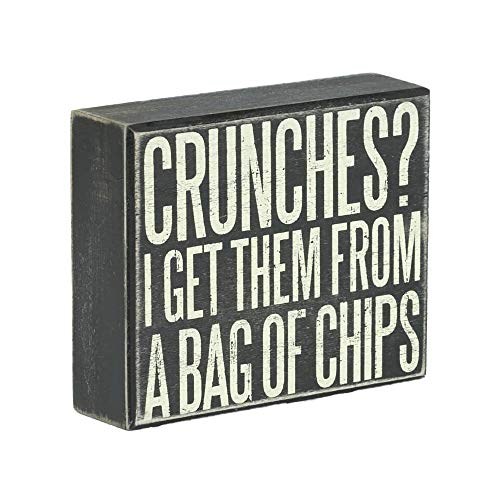 JennyGems Man Cave Signs, Wooden Box Sign with Funny Saying for Home or Office Decor - Crunches? I Get Them From A Bag Of Chips - Positive Signs, Humorous Wall Art - Father's Day Gift for Dad - Funny Food Signs