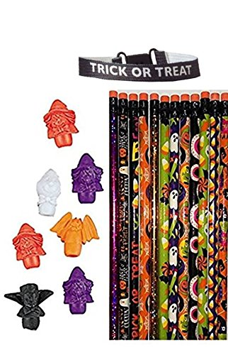 Halloween Themed Pencils and Eraser Toppers- 48 (Halloween Themed Pencil Drawings)