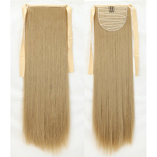 """18-27"""" Long Straight Curly Bingding Tie up Ponytails Clip in Hair Extensions One Piece Wrap Around Pony Tail Lady Style (22"""" Straight, Ash Blonde)"""
