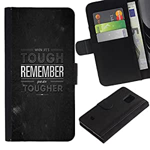 LECELL--Cuero de la tarjeta la carpeta del tirón Smartphone Slots Protección Holder For Samsung Galaxy S5 Mini, SM-G800 -- RECUERDE MENSAJE PROFUNDO --