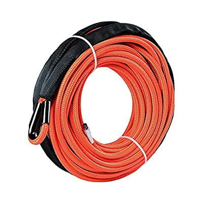 Synthetic Winch Cable Rope with Sheath for SUV ATV UTV Winches Truck Boat Ramsey Car Orange (1/4 x 50'-7500LB+)