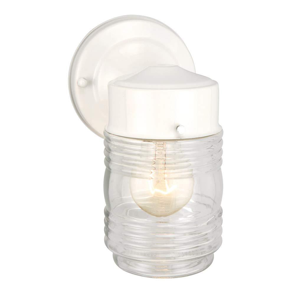 Design House 500181 Jelly Jar 1 Light Indoor/Outdoor Wall Light, White
