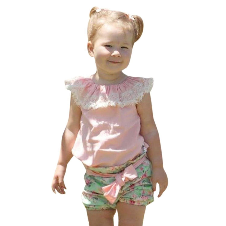 6a367b10f8bc7 Bonjouree Ensembles Shorts et Haut Bebe Fille T-shirt Sans Manches avec  Dentelle et Short de Enfant Fille 1-3 Ans Vetement Ete