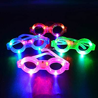 12ct LED Light Up Sunglasses - Flashing Multi Colored Led Glasses Best Party Favors Light Up Flashing Glasses for Children (Round): Health & Personal Care