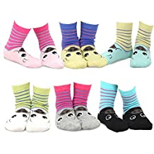 TeeHee Kids Girls Cotton Fashion Animals Face Design Socks 6 Pair Pack