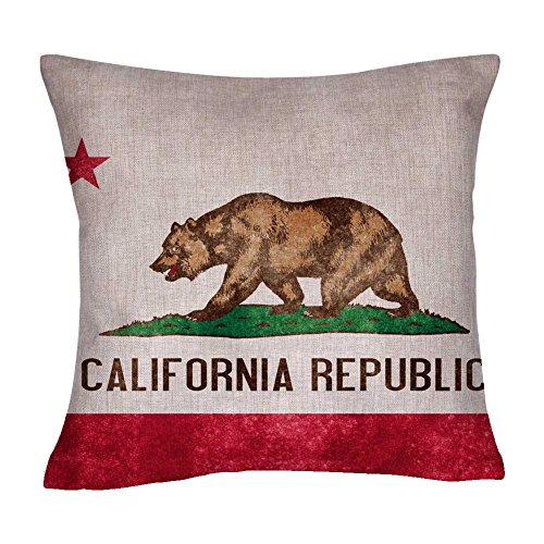 US State Flag Pillow Cover, State Flag Throw Pillow Covers (California) ()