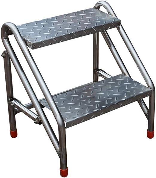 ZHAS Escalera Industrial Plegable de 2 peldaños, Escalera de Mano ...