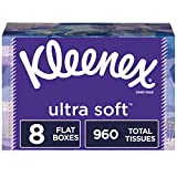Kleenex Ultra Soft Facial Tissues, 120 Tissues per Flat Box, 8 Flat Boxes (960 Tissues Total)