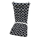 Barnett Products Fulton Navy Porch Rocker Cushions - Extra-Large - Indoor/Outdoor: Fade Resistant, Mildew Resistant - Latex Foam Fill - Reversible, Made in USA (Blue/White, Quatrefoil)