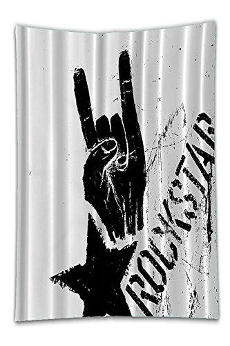 Beshowereb Fleece Throw Blanket Super Rock Star Rocker Symbol Graffiti Print Home Musical Concert Music NoteDecor DecorationExclusive Designer Rare Design Bathroom Set Black and White Fabric Machine