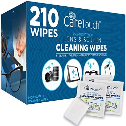 Care Touch Lens Cleaning Wipes – 210 Pre-Moistened and Individually Wrapped Lens Cleaning Wipes – Great for Eyeglasses, Tablets, Camera Lenses, Screens, Keyboards and Delicate Surfaces