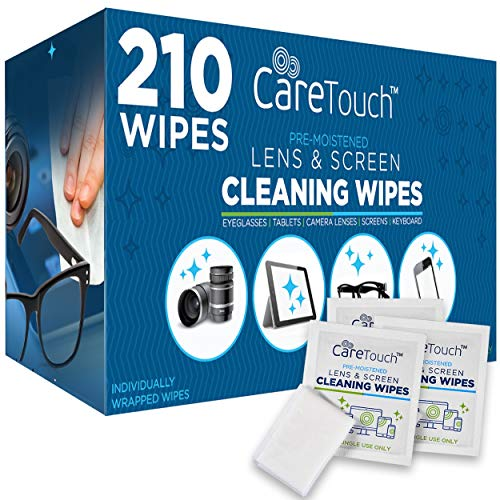 Care Touch Lens Cleaning Wipes, Pre Moistened Cleansing Cloths Great for Eyeglasses, Tablets, Camera Lenses, Screens, Keyboards and Other Delicate Surfaces - 210 Individually Wrapped Wipes from Care Touch
