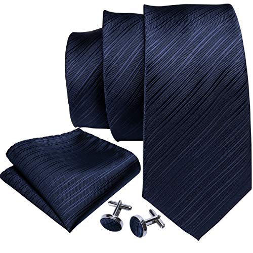 Barry.Wang Mens Tie Set Solid Navy Blue Necktie Handkerchief Cufflinks Business Tie