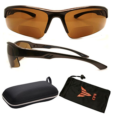 (#RCXXBF-SP Brn3.0) Bifocal Sport Safety Glasses UV Protection Reading Glasses Sun Readers + Case ( These Are Bifocal Sunglasses - Glasses Magnification Zero