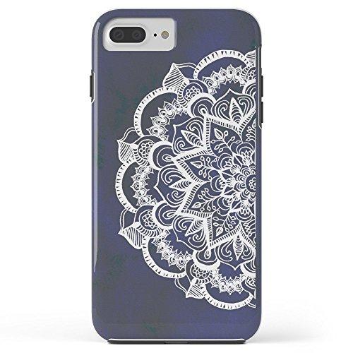 (Roses Garden Phone Case Protectivedesign Hard Back Case White Feather Mandala On Navy Tough Case iPhone 7 Plus)