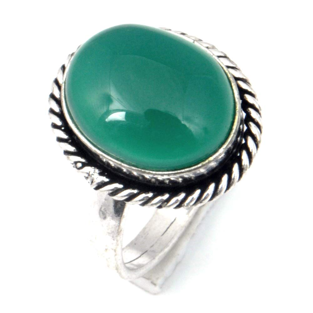 Handmade Jewelry Green Onyx Sterling Silver Overlay Ring Size 8 US Ancient Style