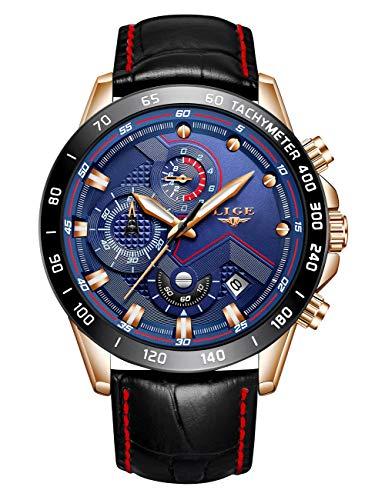 LIGE Mens Watches Waterproof Business Dress Analog Quartz Watch Men Luxury Brand Date Sport Brown Leather Clock …