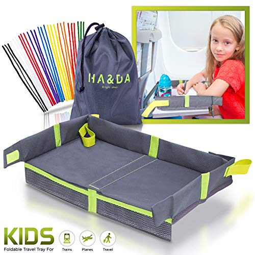 - Foldable Kids Travel Tray for Plane Travel Activities and Games, Toddlers and Children, Unisex - Compact Light Portable - Use on Airplane/Train Tray Table, with Fun Chenille Pipe Cleaners for DIY