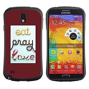 Fuerte Suave TPU GEL Caso Carcasa de Protección Funda para Samsung Note 3 N9000 N9002 N9005 / Business Style Pray Red Quote Love Text Quote