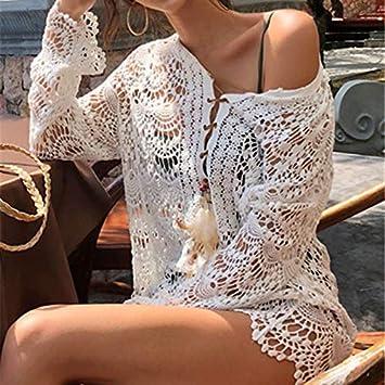 GUOQUNUP Falda De Playa Crochet Cover Up Traje De Baño Blanco ...