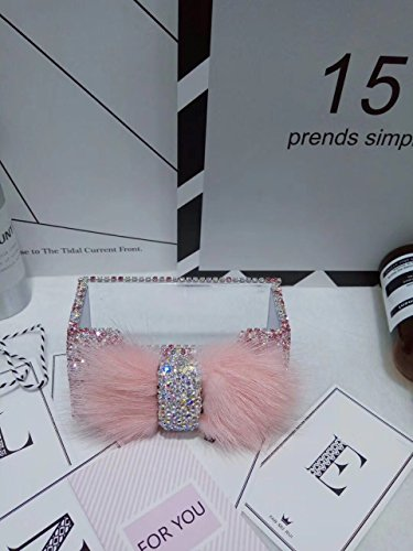 TISHAA Luxury Ribbon Gorgeous Bling Bling Rhinestone Crystal Stones Decorative Fuzzy Fur Cute Now Business Card Holder (Pink - Card Pink Business