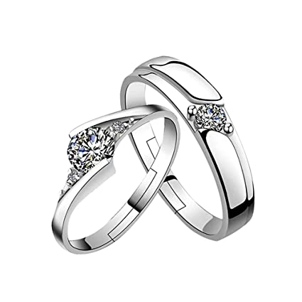 e0c94157c52 Amazon.com  Yonger Fashion Band Silver Crystal Ring Simple Engagement  Marriage Couple Ring Romantic Lovers Ring Gift  Office Products