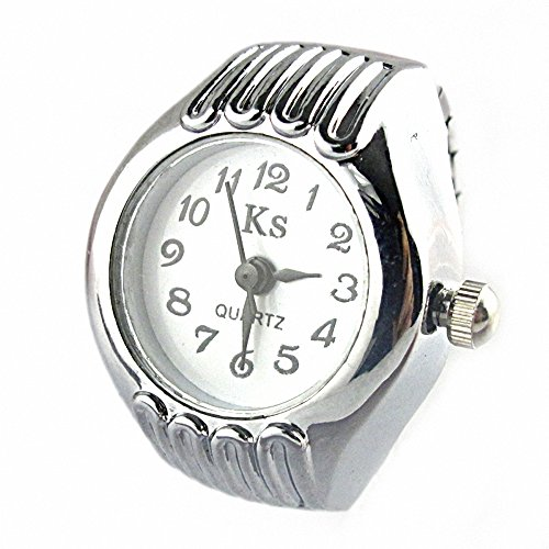 YouYouPifa Silver Fashion Elegant Quartz Finger Ring Watch