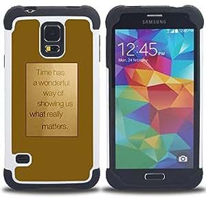 "Hypernova Híbrido Heavy Duty armadura cubierta silicona prueba golpes Funda caso resistente Para SAMSUNG Galaxy S5 V / i9600 / SM-G900 [Motivación motivación Oro texto""]"