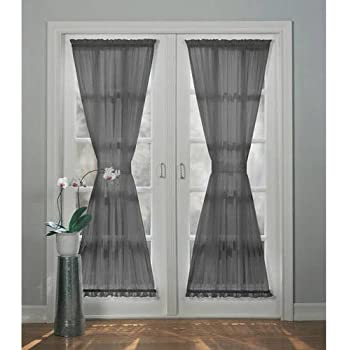 1 Piece 72 Inch Charcoal Solid Color Sheer French Door Curtain Single  Panel, Grey Color Glass Door Patio Door Curtains Stylish Contemporary  Casual Rod ...