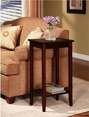 Sturdy Coffee Tall Accent End Table. Flower Vase Holder Can Be Placed on Top, The Lower Rack to Store Books. Can Be Placed Beside Sofa in The Living Room or Bedroom As Nightstand. Brown