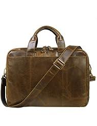 Jack&Chris Mens Laptop Bag Messenger Shoulder Bag Leather Briefcase For Men (Wax Leather NM7230)