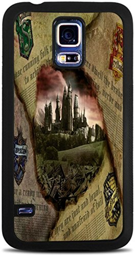 Hufflepuff Gryffindor Hogwarts Slytherin Ravenclaw Newspaper Design Pattern Print Black Silicone Case for Samsung Galaxy S5 by Trendy (Slytherin Symbol)