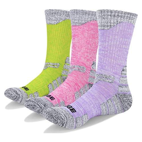 YUEDGE Women's 3Pack Multi Performance Outdoor Hiking Trekking Cushion Crew Socks, L(Women Shoe 7-10.5 US Size)  Assortment 3Pack Purple/Red/Green