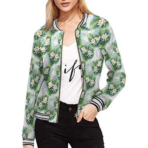 INTERESTPRINT White Water Lilly Flowers Women's Classic Bomber Short Jacket Coat XS