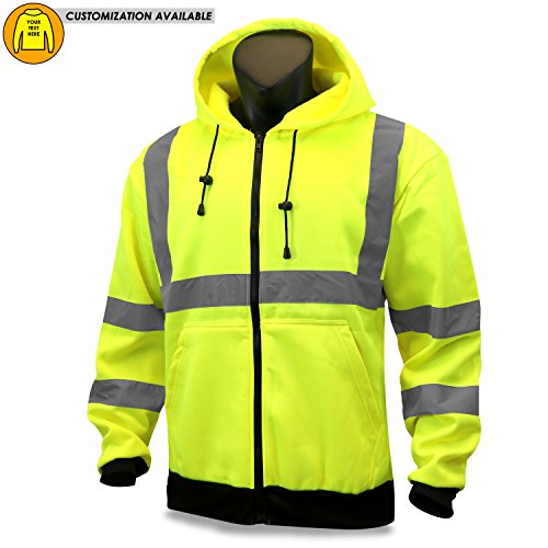 KwikSafety EXTENDED SIZING | PATROL Class 3 Fleece Hoodie | Premium Anti-Pill (No Fuzz Balls) Durable Zipper Construction Work Wear | 360° Hi Vis Reflective ANSI Compliant Safety Jacket | 2XL