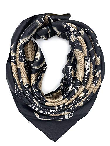 (YOUR SMILE Silk Like Snake-Grain Pattern Women's Fashion Pattern Large Square Satin Headscarf)