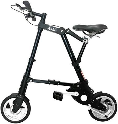 A型BIKE 折り畳み自転車 超軽量 超小型 8インチ 10インチ 小径 駅通い ピクニック 遠足 収納袋付き a型bike 10ABike-黒
