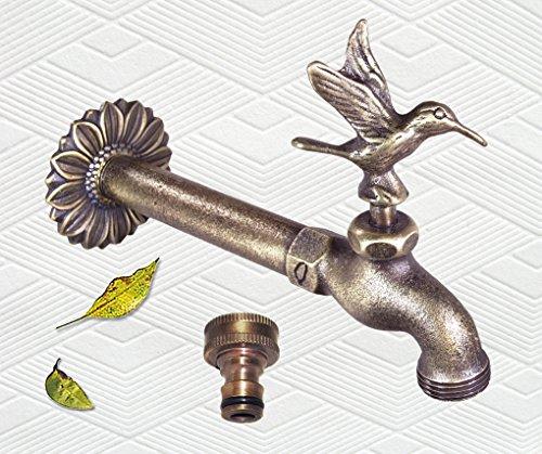 Flower Backplate - Decorative Solid Brass Hummingbird Garden Outdoor Faucet 8