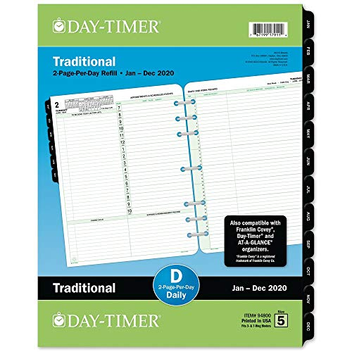 Day-Timer 2020 Daily Planner Refill, Two Pages Per Day, 8-1/2