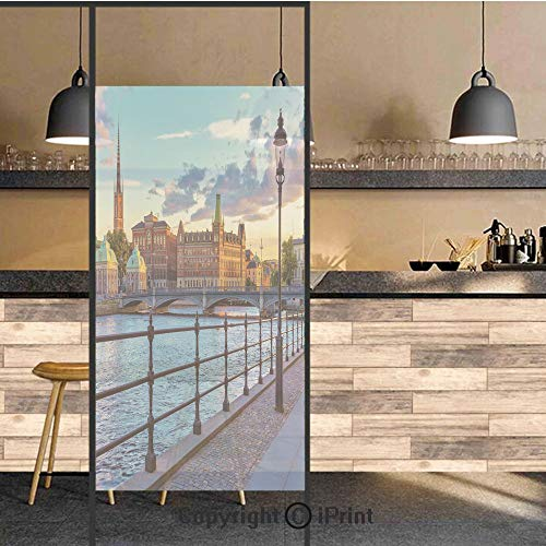 3D Decorative Privacy Window Films,Scandinavian Stockholm Old Town Sweden by Lake Gamla Stan View Autumn Day Scenery,No-Glue Self Static Cling Glass film for Home Bedroom Bathroom Kitchen Office 24x48 -