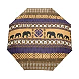 WIHVE Africa Art Elephant Umbrella Auto Open Close Windproof Compact