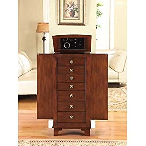 nathan direct cayman 7 drawer lockable jewelry armoire with 2 side compartments and a lift top compartment with mirror and ring holders antique brown amazoncom antique jewelry armoire
