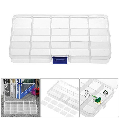 ALLOMN 15-Slot Plastic Bead Box Storage Organizers, Transparent Jewelry Nail Art Accessory Container Case with Adjustable Dividers, 6.94.010.9